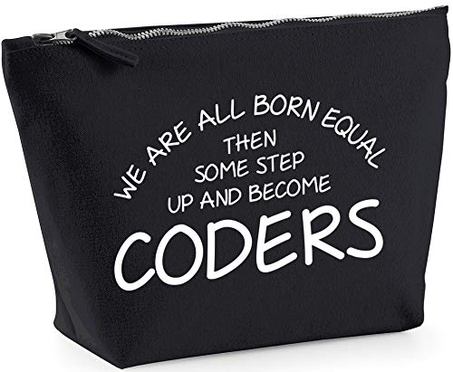 Hippowarehouse We are all born equal then some step up and become coders printed make up cosmetic wash bag 18x19x9cm from Hippowarehouse