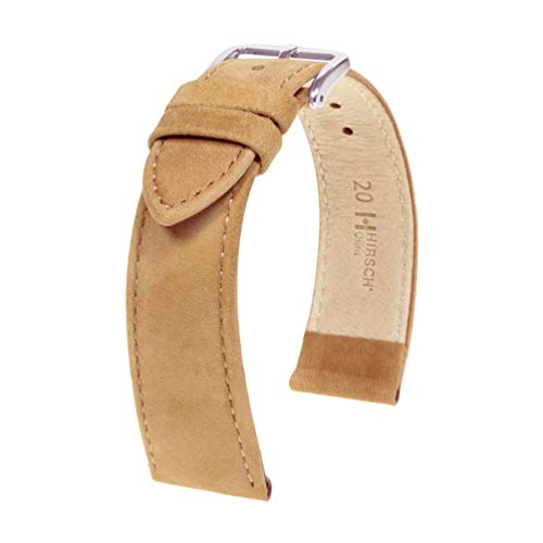HIRSCH Osiris 22mm Long Beige Leather Watch Strap 03433090-2-22 from Hirsch