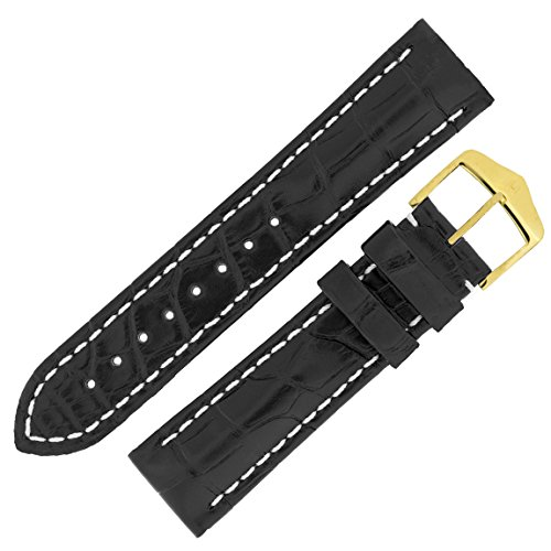 Hirsch Capitano Padded Alligator Leather Water-Resistant Watch Strap with Buckle in Black (22m (20mm Buckle), Gold Buckle) from Hirsch
