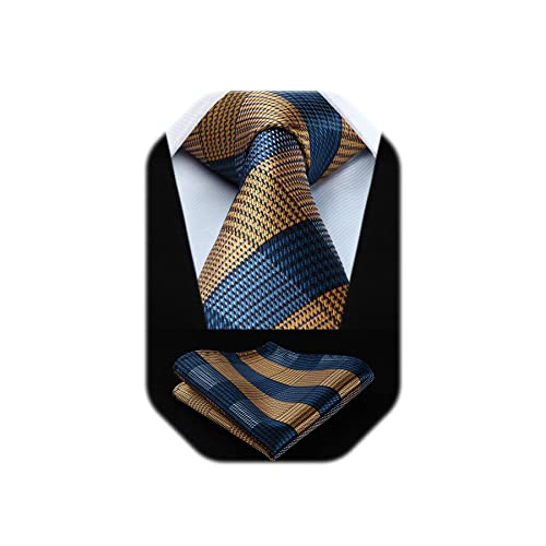 HISDERN Check Classic Plaid Wedding Party Prom Tie Handkerchief Men's Necktie & Pocket Square Set, One Size, Yellow / Navy Blue from HISDERN