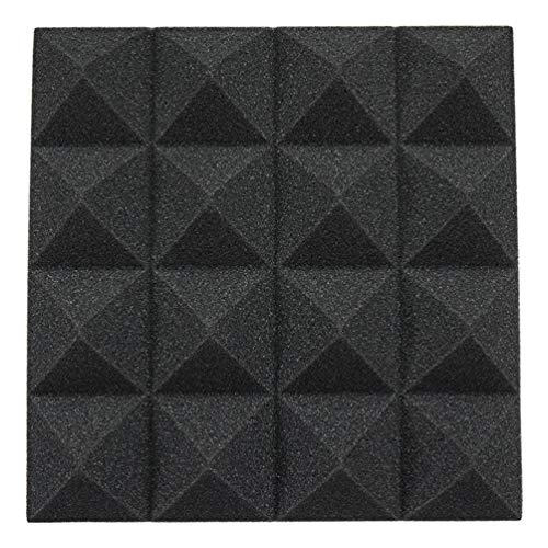 12pcs Pyramid Acoustic Foam Home Studio Sound Treatment Accessories Foam DIY Studio Soundproofing Wall Panel Tiles Sound Insulation 25x25x5cm (Black) from HitTopss
