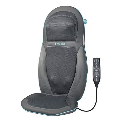 HoMedics Gel Back Massager Massage Chair Pad Seat Cover, Relax Full Back Neck Shoulder Muscles, Deep Kneading Rolling Vibration Soothing Heat, High Definition Targeted Treatments for Home + Office from HoMedics