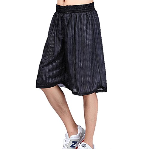 HOEREV Men's Reversible Sport Basketball Shorts, No pockets - Black_White - XX-Large from Hoerev