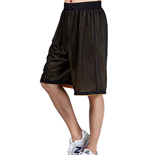 HOEREV Men's Reversible Sport Basketball Shorts, No pockets Black_Yellow Size XX-Large from Hoerev