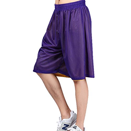 HOEREV Men's Reversible Sport Basketball Shorts, No pockets - Purple_Yellow - X-Large from Hoerev