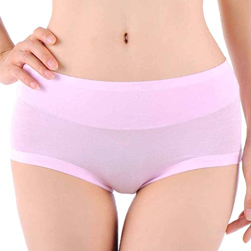df32b971de9e HOEREV Womens Comfort Bamboo Fibre Brief Panty, Pack of 3, Pink, L from