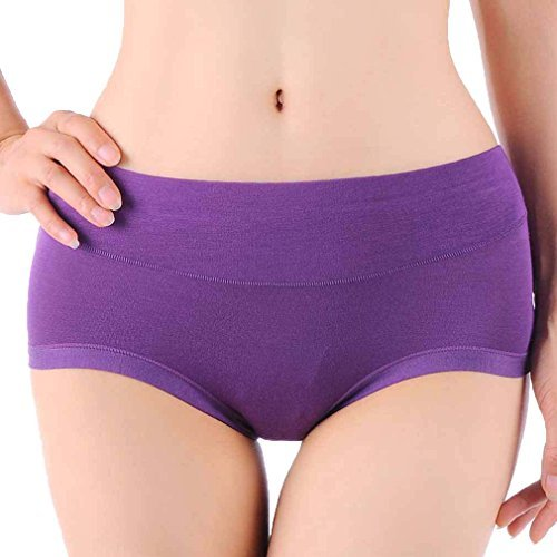 21b4499db689 HOEREV Womens Comfort Bamboo Fibre Brief Panty, Pack of 3, Purple, S from