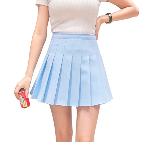 Hoerev Women Girls Short High Waist Pleated Skater Tennis School Skirt from Hoerev