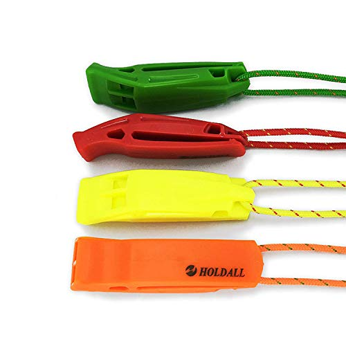 HOLDALL safety whistle with lanyard (4 pack) for Boating Hiking Kayak Emergency Survival Life Vest Rescue Signaling from HOLDALL OUTDOOR
