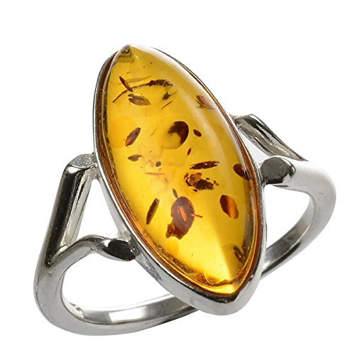 HolidayGiftShops Sterling Silver Baltic Amber Ring Autumn Size: 5 from HolidayGiftShops