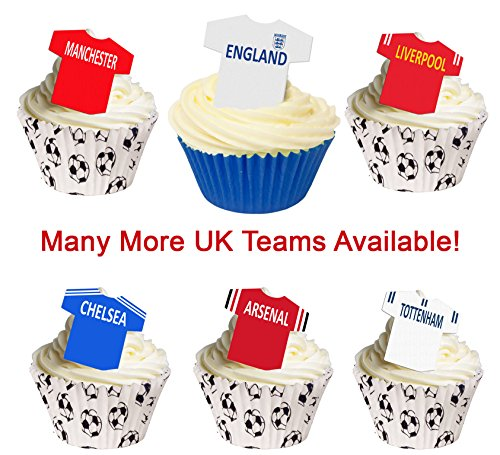 12 Edible Football Shirts Cake Decorations - UK TEAMS. Use the drop down menu to find your team from Holly Cupcakes