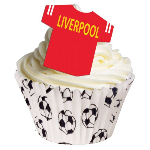 12 Edible Football Shirts- Liverpool from Holly Cupcakes