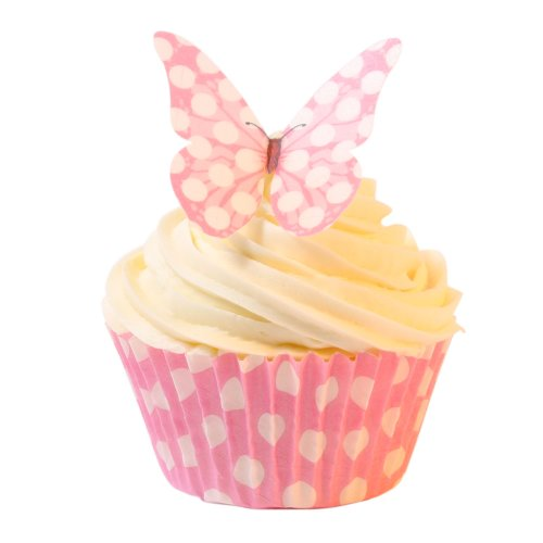 12 Edible Polka Dot Wafer Butterflies & Polka Dot Muffin Cases: Baby Pink from Holly Cupcakes