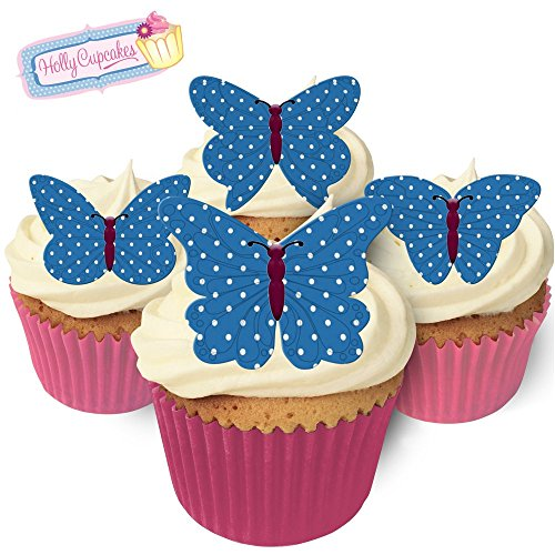 12 Edible Polka Dot Wafer Butterflies & Polka Dot Muffin Cases: Blue from Holly Cupcakes