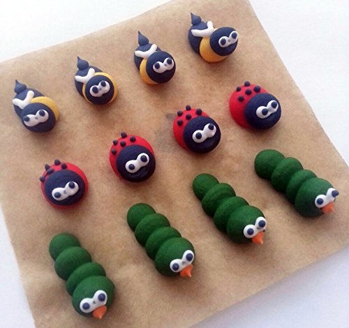 12 Edible Sugar Cake Decorations: Mini Mixed Garden Animals from Holly Cupcakes