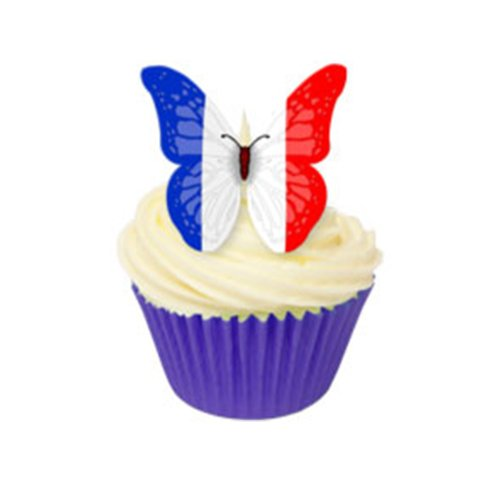 24 Edible Pre-cut Wafer Butterfly Cake Toppers: France from Holly Cupcakes