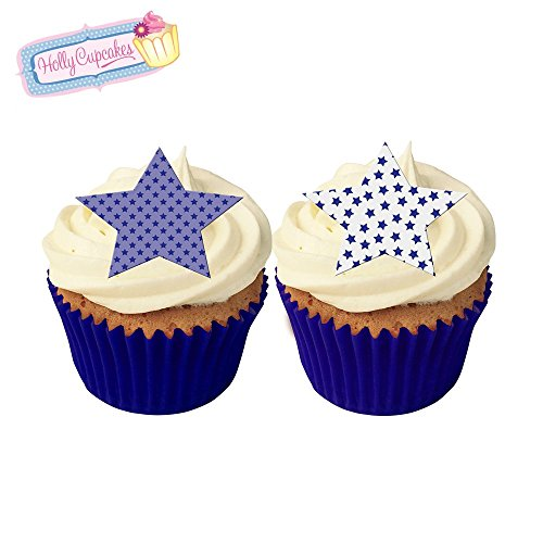 12 Mixed blue star cake decorations, plus a FREE GIFT of 12 matching smaller star toppers! from Holly Cupcakes