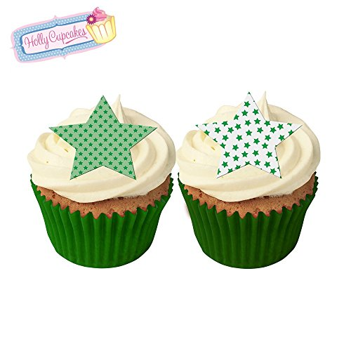 12 Mixed green star cake decorations, plus a FREE GIFT of 12 matching smaller star toppers! from Holly Cupcakes