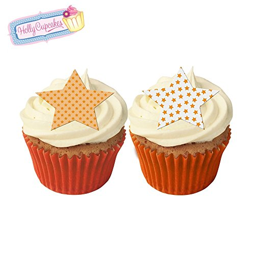 12 Mixed orange star cake decorations, plus a FREE GIFT of 12 matching smaller star toppers! from Holly Cupcakes