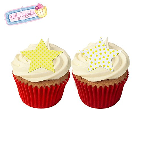 12 Mixed yellow star cake decorations, plus a FREE GIFT of 12 matching smaller star toppers! from Holly Cupcakes