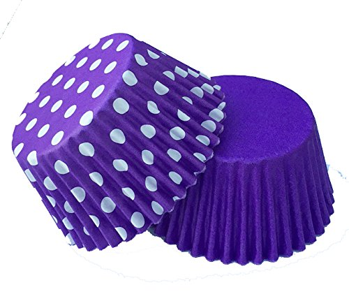 12 Plain Purple and 12 Purple Polka Dot Excellent Quality Muffin / Cupcake Cases from Holly Cupcakes