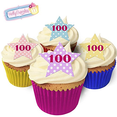 "12 Vintage Polka dot ""100"" Star Cake Decorations, Plus a Free Gift of 12 Matching Smaller Star Toppers! from Holly Cupcakes"
