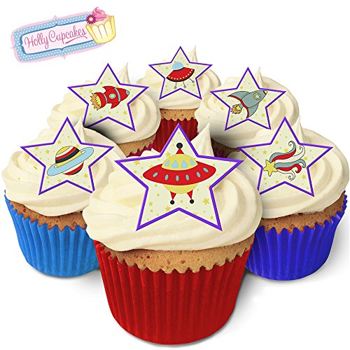 12 space design star shaped cake decorations, plus a FREE GIFT of 12 bright smaller star toppers! from Holly Cupcakes