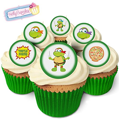 24 Edible round cake toppers: Cartoon Turtles from Holly Cupcakes
