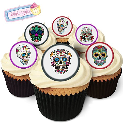 24 Edible round cake toppers: Day of the Dead / Día de Muertos from Holly Cupcakes