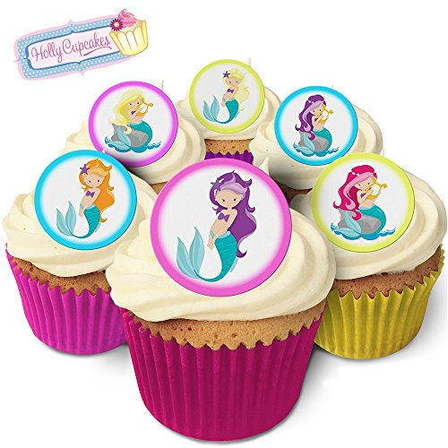 24 Edible Pre-Cut Wafer Round Cake Toppers: Mermaids from Holly Cupcakes