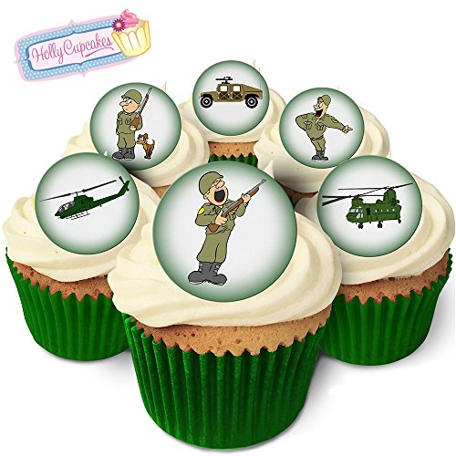 24 Fabulous Edible Pre-Cut Wafer Cake Toppers: in The Army Now from Holly Cupcakes