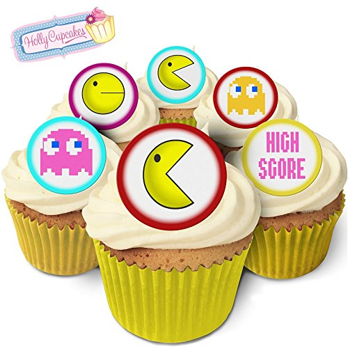 24 Fabulous Edible Pre-Cut Wafer Cake Toppers: Pac Man from Holly Cupcakes