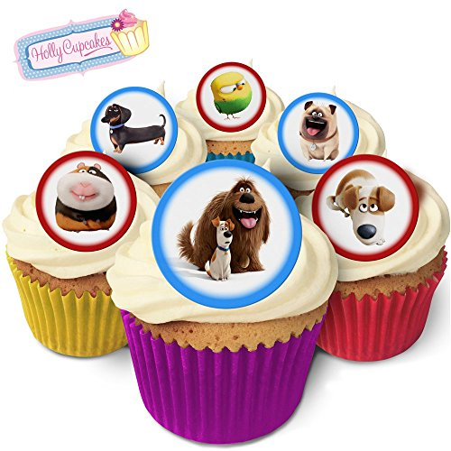 24 Fabulous Edible Pre-Cut Wafer Cake Toppers: The Secret Life of Pets from Holly Cupcakes