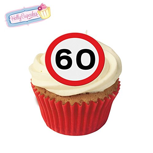 24 Fabulous Pre-Cut Edible Wafer Cake Toppers: 60 Birthday Road Sign from Holly Cupcakes