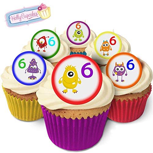 24 Fabulous Pre-Cut Edible Wafer Cake Toppers: Monster Age 6 from Holly Cupcakes