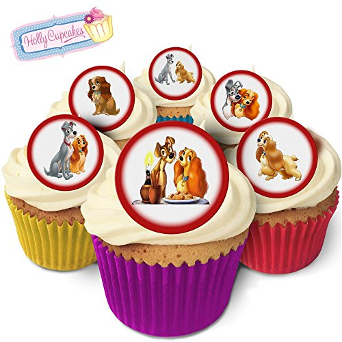24 Fabulous Pre-Cut Edible Wafer Cake Toppers: The Lady & The Tramp from Holly Cupcakes