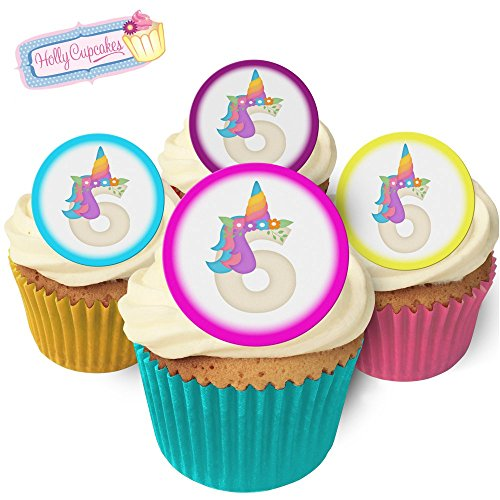 24 Fabulous Pre-Cut Edible Wafer Cake Toppers: Unicorn Birthday Number 6 from Holly Cupcakes