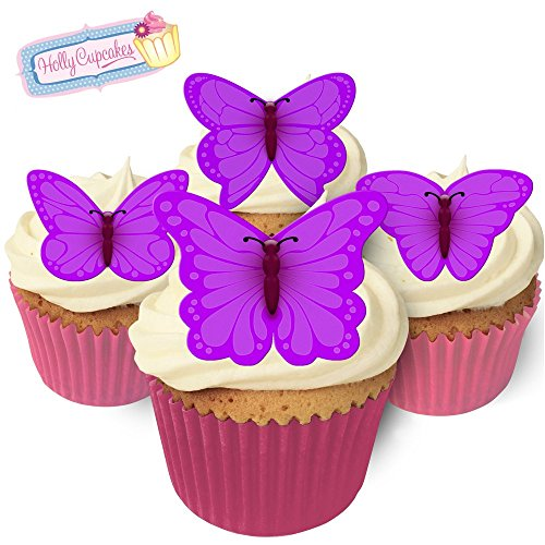 24 Gorgeous Edible Mixed Sized Butterflies: Bright Purple from Holly Cupcakes