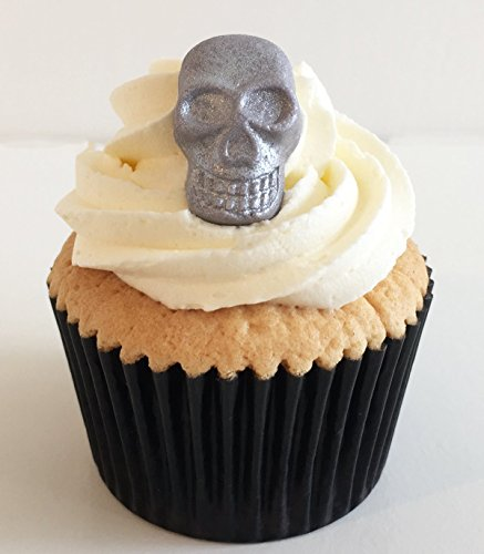 6 Grey Sparkle Sugar Skulls- edible & handmade with love in the UK! from Holly Cupcakes