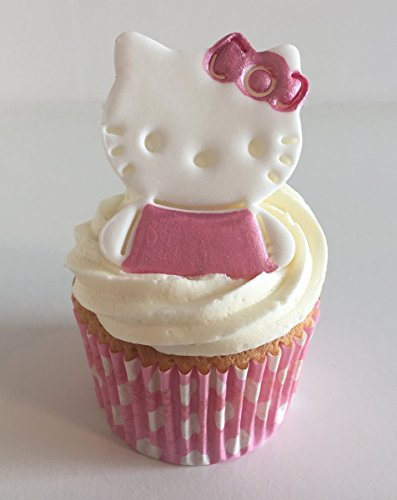 6 Sugar Hello Kittys Cake Toppers- Made with Love & Imagination in the UK! from Holly Cupcakes