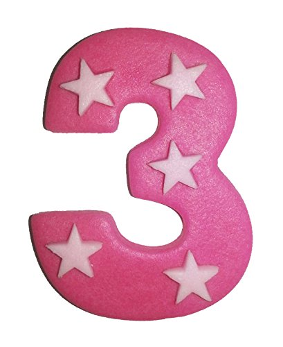 6.5cm x 5cm Pink Sugar Number With Stars: 3 from Holly Cupcakes