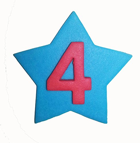 Handmade Blue Sugarpaste Star with Red Number: 4 from Holly Cupcakes
