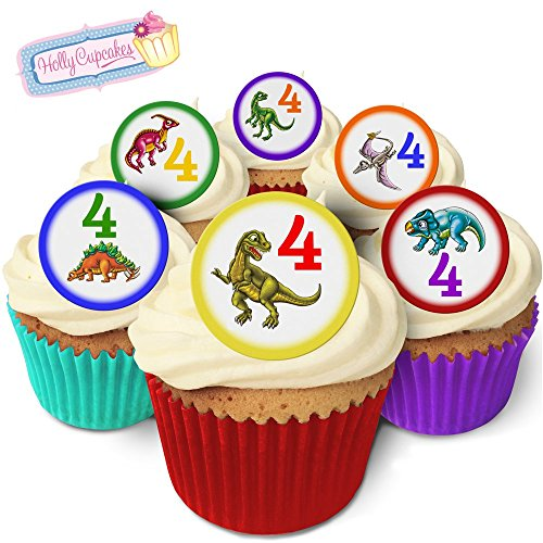 Holly Cupcakes 24 Fabulous Pre-Cut Edible Wafer Cake Toppers: Dinosaur Age 4 from Holly Cupcakes