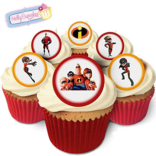 24 Fabulous Pre-Cut Edible Wafer Cake Toppers: The Incredibles from Holly Cupcakes