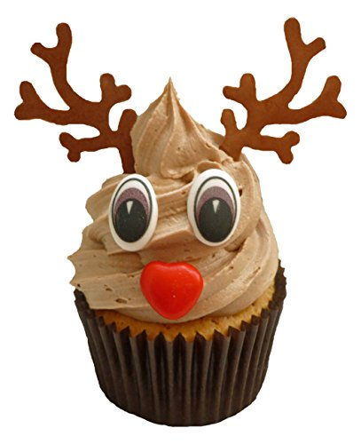 Holly Cupcakes Set to Decorate 24 Christmas Rudolf Cupcakes Including Chocolate Eyes / Noses and Antlers (Pack of 24) from Holly Cupcakes
