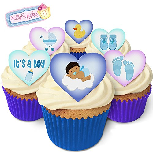 It's a Boy! 12 Lovely baby boy design heart cake decorations, plus a FREE GIFT of 12 smaller pretty cake toppers from Holly Cupcakes