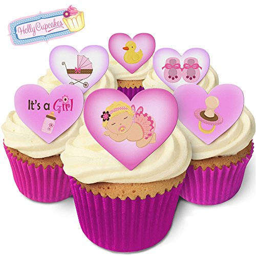 It's a Girl! 12 Lovely baby girl design heart cake decorations, plus a FREE GIFT of 12 smaller pretty cake toppers from Holly Cupcakes