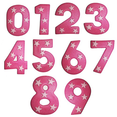 Pink Sugar Number With Stars- 6.5cm x 5cm. Please use the drop down menu to select your number. from Holly Cupcakes