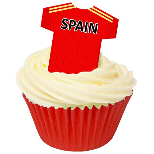 12 Edible Pre-Cut Wafer Football Shirts: Spain from Holly Cupcakes
