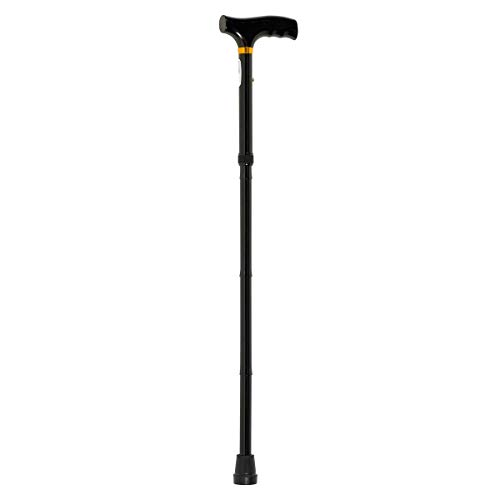 Homecraft Short Folding Walking Stick with Wooden Handle - Black (Eligible for VAT relief in the UK) from Homecraft